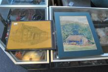 Two Artworks Depicting Cabins