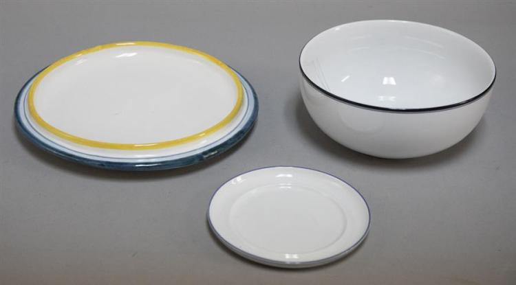 Lot 235 Grouping of contemporary ceramic tableware pieces consisting of an 11 1/2\  diameter Italian cake plate with yellow and blue bands an. & Grouping of contemporary ceramic tableware pieces consisting