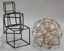 Two contemporary metal cube and sphere form sculptures.