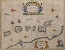 Jan Jansson, Dutch (1588-1664), Insularum Moluccarum Nova Descriptio, circa 1641, hand colored engraved map, 15 x 19 3/4 9 inches (s...