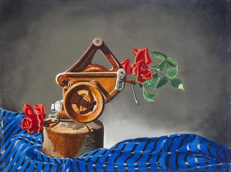 Dhimitri Zonia, American (B. 1921), Still life with roses and machine, 1974, oil on board, 18 x 24 inches