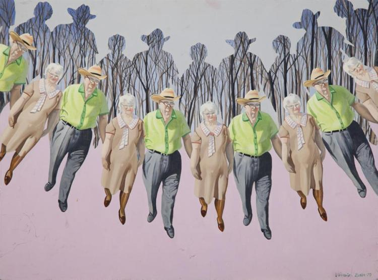 Dhimitri Zonia, American (B. 1921), Repeating figures, 1979, oil on board, 18 x 24 inches