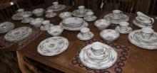 Royal Doulton dinner service for twelve, KINGSWOOD pattern comprising dinner, salad and bread/butter plates, cereal bowls, cups and ...