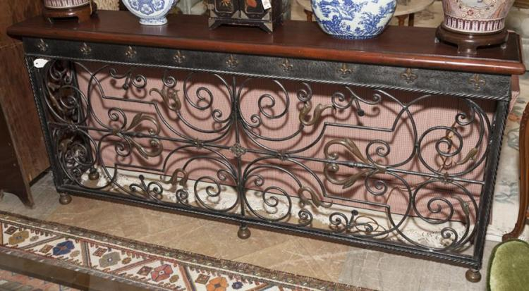 Sofa table with wrought iron base for Wrought iron sofa table base