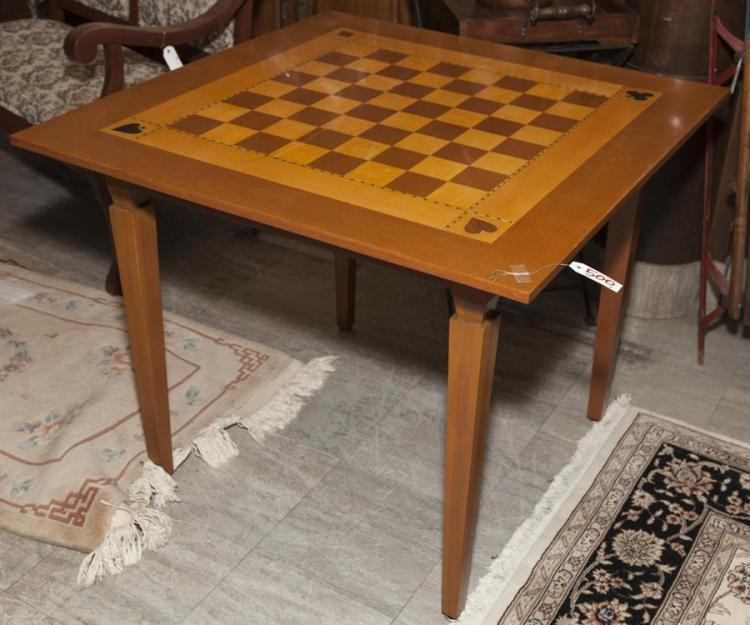 Games table with inlayed checker board top property from th for Table th link