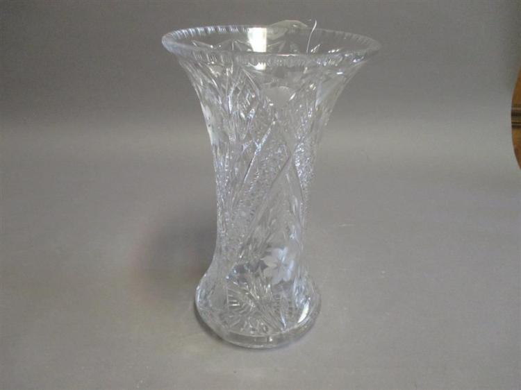 Large crystal vase with floral designs