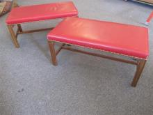 Zollingers furniture, pair of benches upholstered in red leather on Marlborough legs and stretcher - height: 16 inches, length: 36 i...