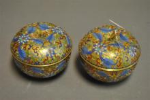 Pair of champleve lidded jars in the form of apples
