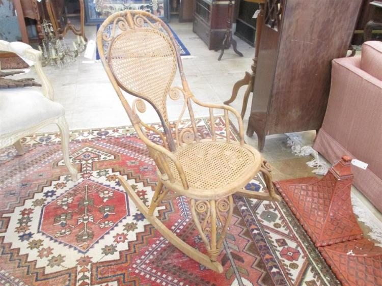 Bentwood and caned open arm rocker