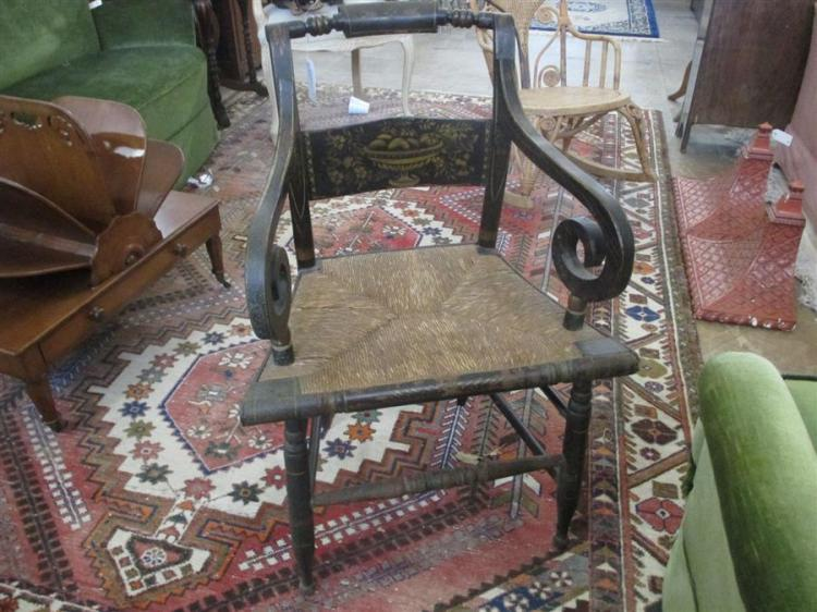 Antique Hitchcock ebonized and stenciled open arm chair