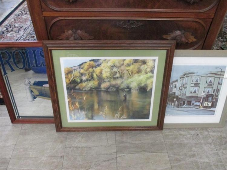 Three framed articles, Rolls Royce framed mirror along with San Francisco street scene and a framed lithograph of a fisherman