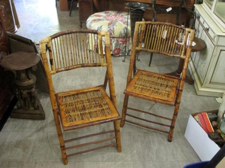 Pair of bamboo folding side chairs