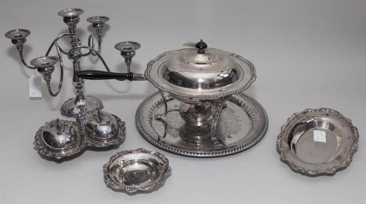Six assorted good American plated silver table articles; Forbes five-light candelabrum, Poole breadtray and bowl, chafing dish with ...