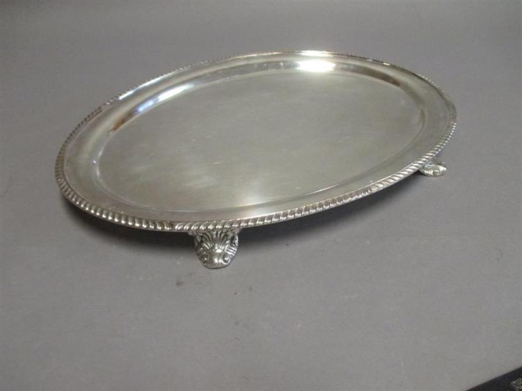 American plated silver footed oval tray with gadroon rim, 20 1/2 x 15 inches