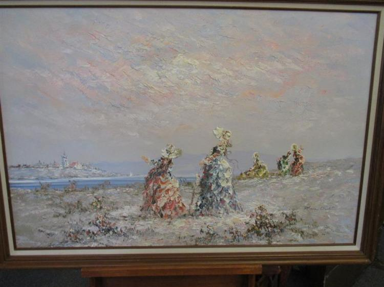 Marie Charlot, French, 20th century, Victorian women on the beach, oil on canvas, overall size: 24 x 37 inches