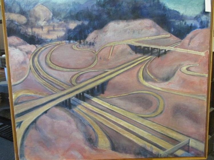 Elizabeth Cavanagh Cohen, St. Louis, Interstate in landscape, oil on canvas, 34 x 41 inches