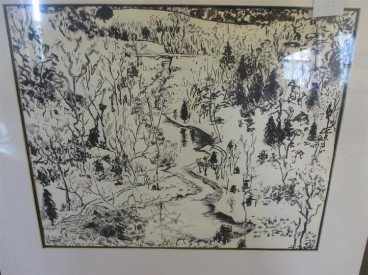 Elizabeth Cavanagh Cohen, St. Louis, Ozark Creek, ink on paper, 14 x 17 inches