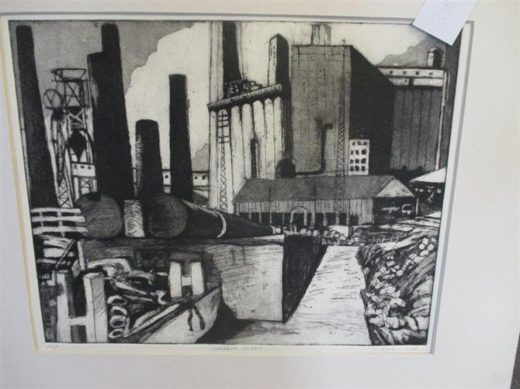 S. Doi, 20th century, Conagra Plant, etching, 11 x 13 3/4 inches