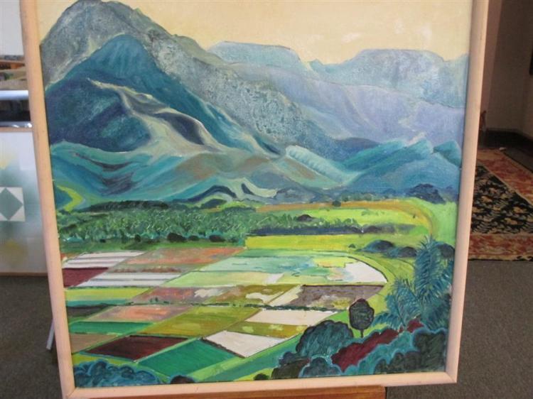 Elizabeth Cavanagh Cohen, St. Louis, Taro Fields, oil on canvas, 24 x 24 inches