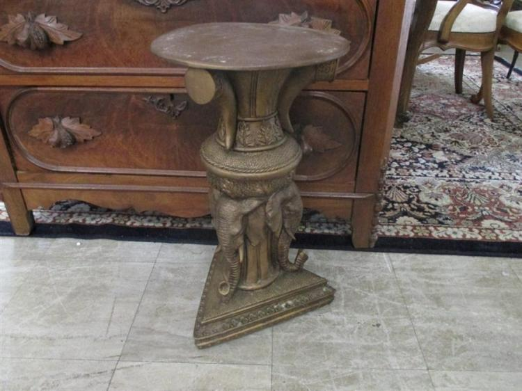 Middle Eastern design plant stand with figural elephant form decoration