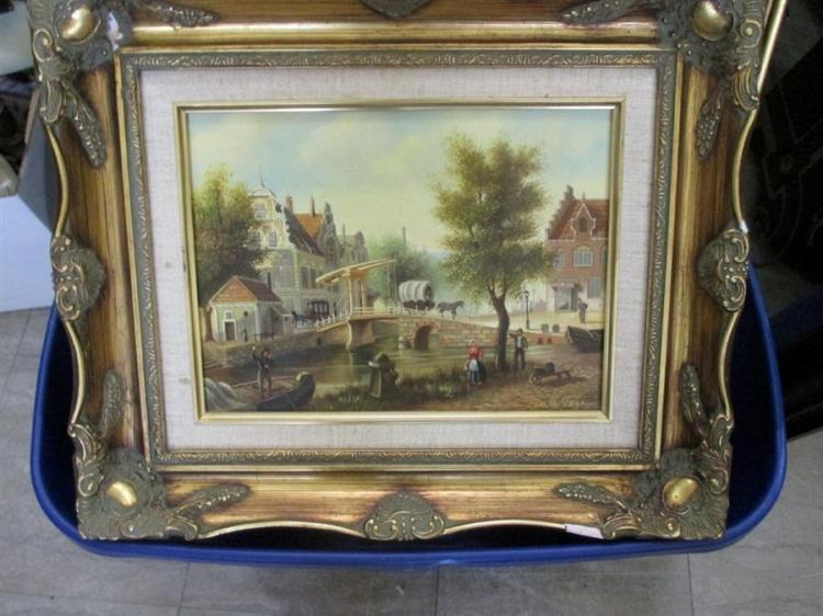 Collection of six various framed works, landscape, portraits, one in antique rosewood frame and more