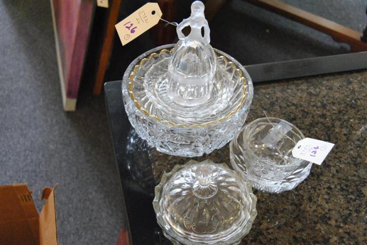 Assorted glassware items including etched bowls, candy dish, bell, and other items (seven items in total)