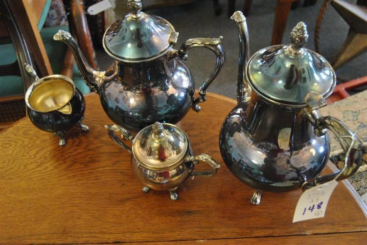 Plated silver coffee and tea service stamped Sheridan, four piece total