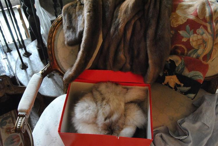 Collection of four items including a mink coat made by Michael Valente, fur hat, and two collars