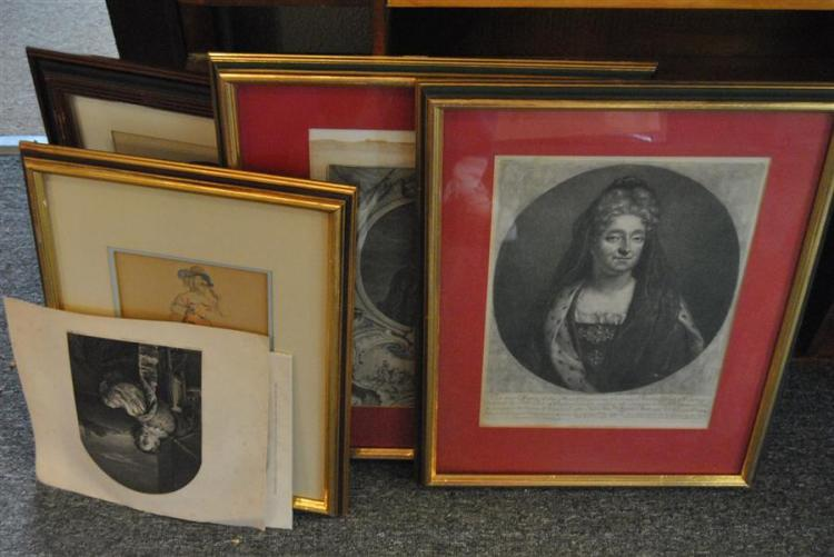 Collection of four framed etchings and two unframed etchings