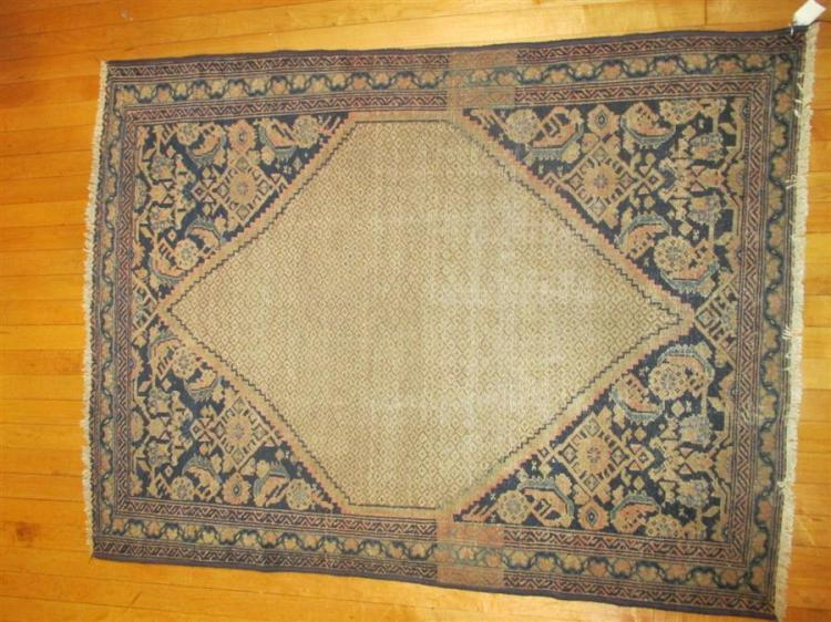 Persian handwoven Hamadan Camel Hair throw rug in shades of blue and beige with sawtooth medallion, 5 feet x 3 feet 8 inches