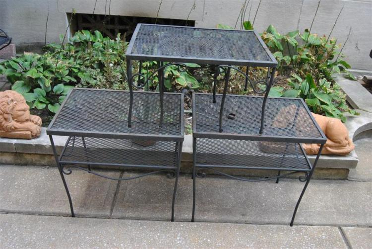 Set of four rectangular patio tables with