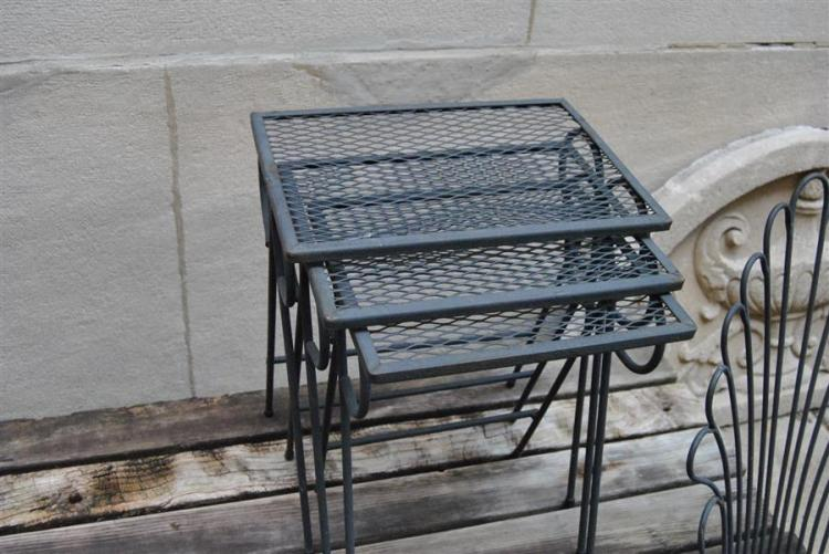 Set of three wrought iron nesting tables