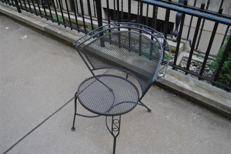 Set of six wrought iron patio chairs