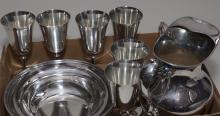Collection of plated silver table articles; Reed & Barton serving bowl, Poole pitcher, a gravy boat and six Italian wine goblets and...