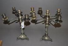 Pair of five light candlesticks