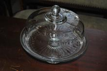Glass cake stand with domed lid