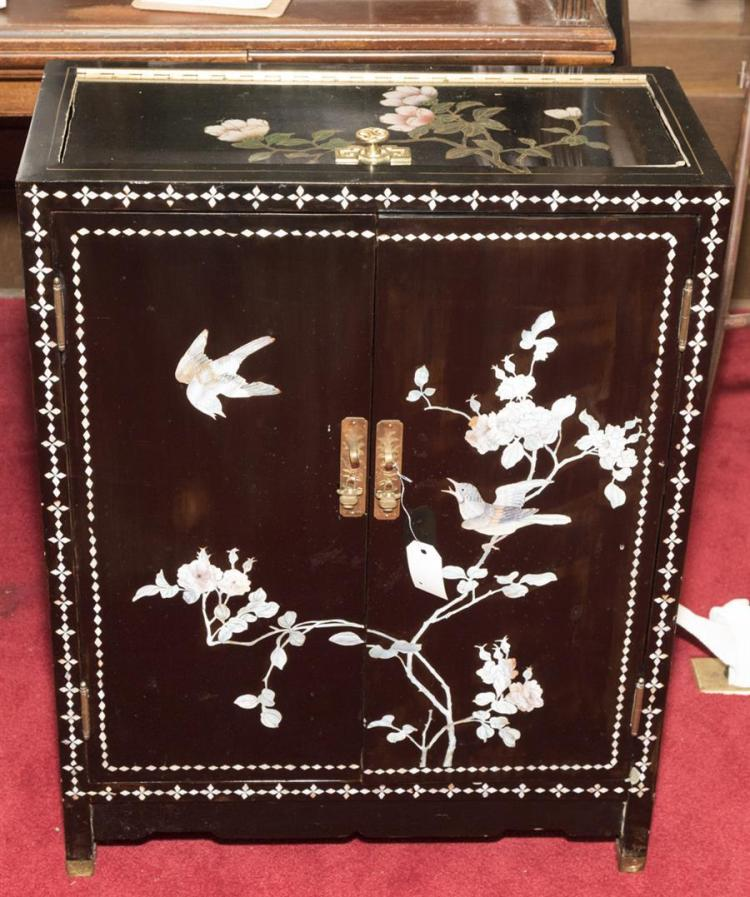 Asian design two door cabinet with hinged top