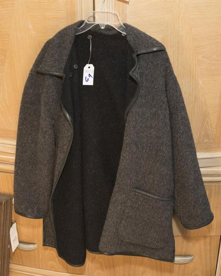Reversible black and gret alpaca and wool jacket with leather banded collar and cuff, size medium, by Wathne