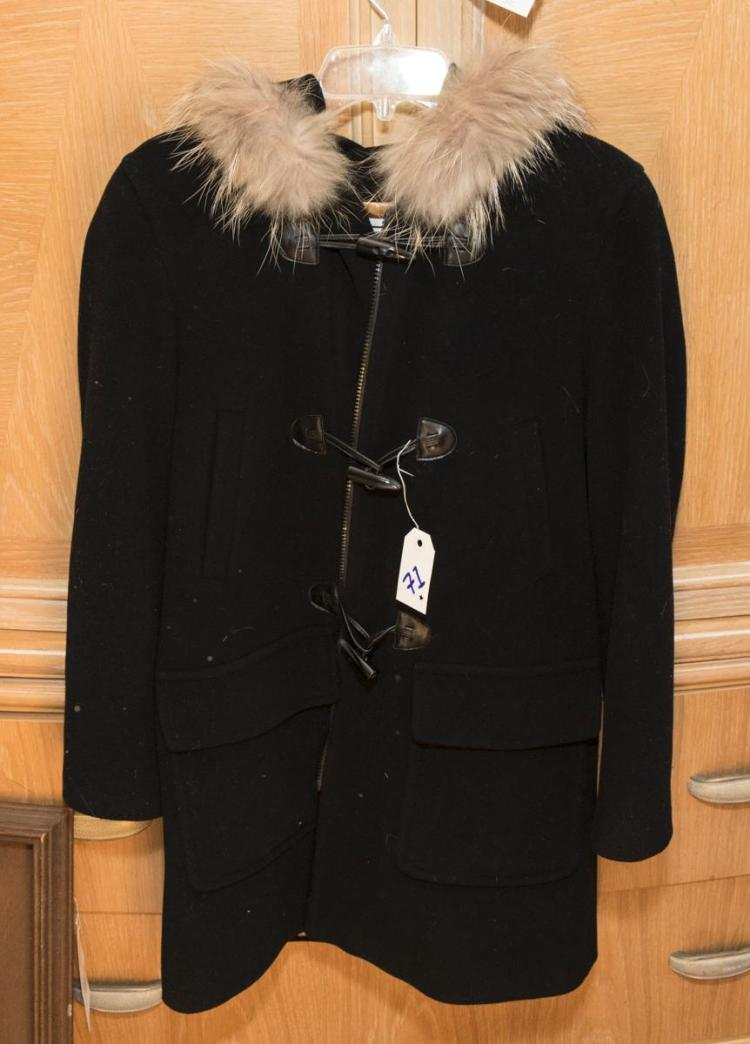 Wool knee length zip front jacket with toggle clasps and fur trimmed hood by Marvin Richards, size 10 petite