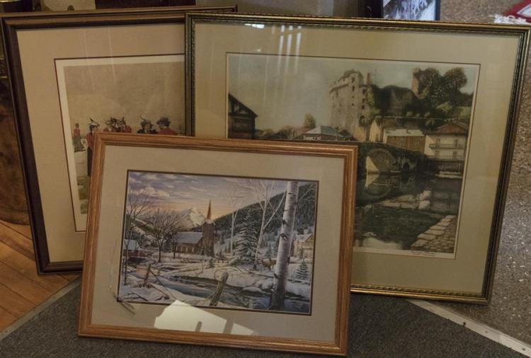 Collection of three framed prints, one signed George Plass