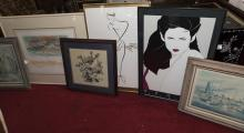 Collection of six framed artwork pieces