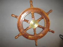 Miniature wooden ships wheel with brass highlights