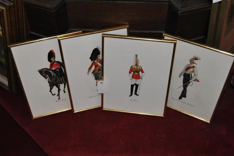 Four framed prints depicting soldiers
