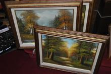 Three landscape paintings on canvas, framed