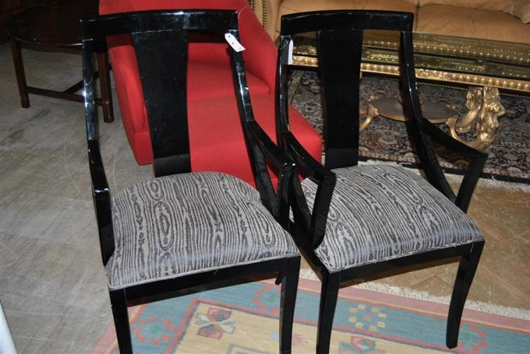 Pair of black lacquered style armchairs