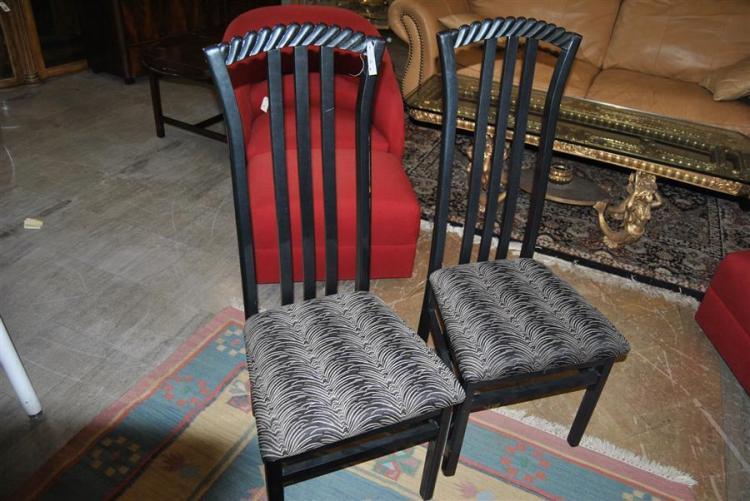 Pair of black lacquered style side chairs