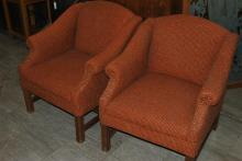 Four matching armchairs with orange tweed fabric and nailheads