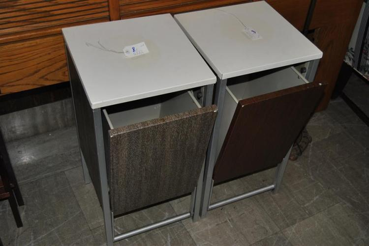 Pair of industrial style metal end tables, made by Sherwood - height: 26 inches, depth: 13