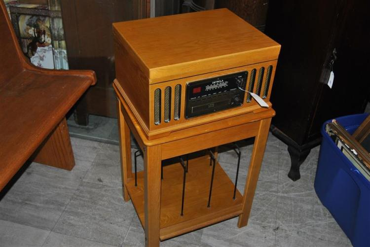 Record player combo on wooden stand