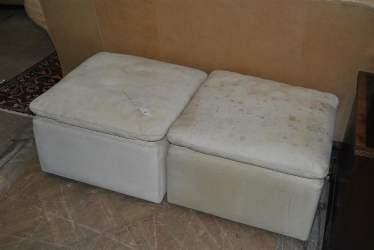 Pair of white leather ottomans on casters made by Collier Furniture Co